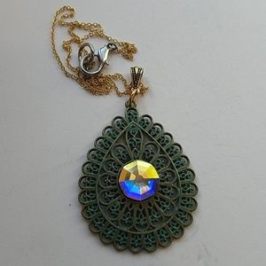 GYPSY MEDALLION patina drop opal necklace new